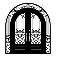 ALEKO Iron Dual Door with Frame and Threshold 96 x 108 x 6 inches Matte Black