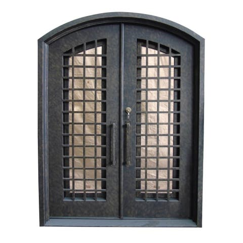 ALEKO Iron Woven Dual Door with Frame and Threshold 81 x 62 x 6 inches Rustic Bronze