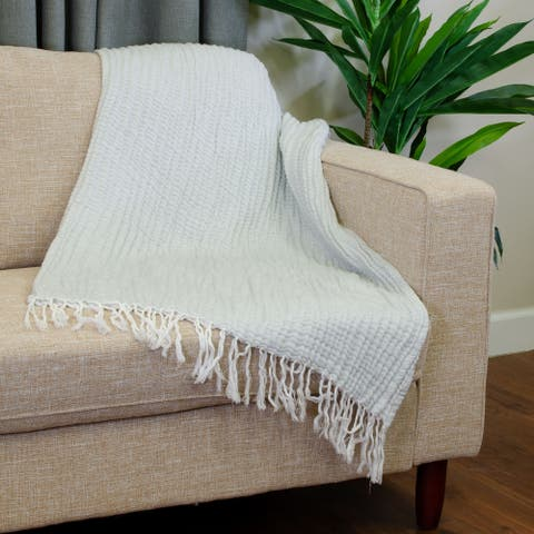 Porch & Den Teton Crinkle Woven Throw with Tassels