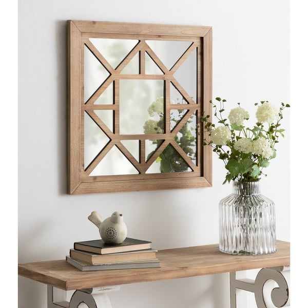 Kate and Laurel Lawford Square Wood Framed Accent Mirror - Brown - 23.25x23.25