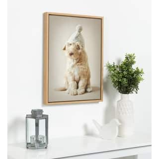 DesignOvation Sylvie Daisy Dog Framed Canvas by Rachael Hale