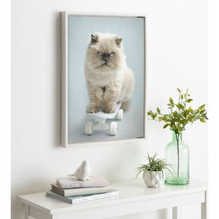 DesignOvation Sylvie Eddie Cat Framed Canvas by Rachael Hale