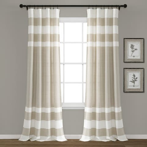 Porch & Den Marty Striped Yarn Dyed Cotton Window Curtain Panel Pair