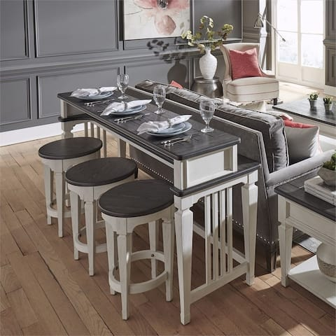 Allyson Park Wirebrushed White 4-piece Bar Table Set
