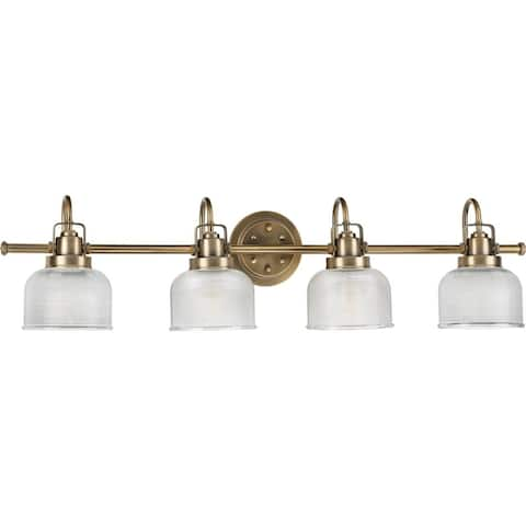 Archie Collection 4-Light Vintage Brass Clear Double Prismatic Glass Coastal Bath Vanity Light