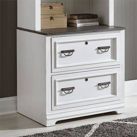Allyson Park Wirebrushed White Bunching Lateral File Cabinet