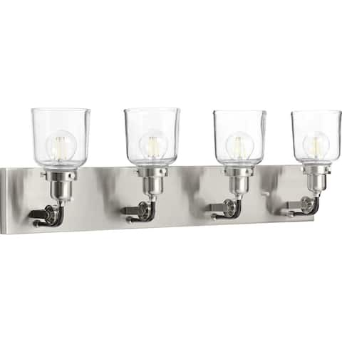 Rushton Collection 4-Light Brushed Nickel Clear Glass Farmhouse Bath Vanity Light