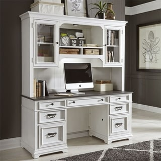 Allyson Park Wirebrushed White Jr. Executive Credenza and Hutch