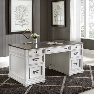 Allyson Park Wirebrushed White Jr. Executive Desk