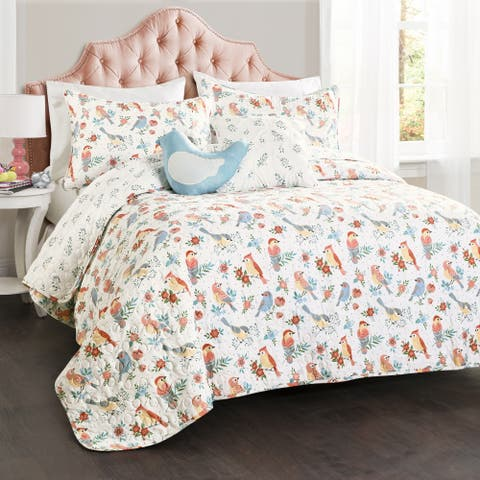 Lush Decor Chirpy Birds Quilt Set