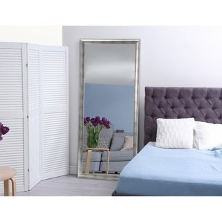 Modern Brushed Silver Floor Mirror - Silver Grain