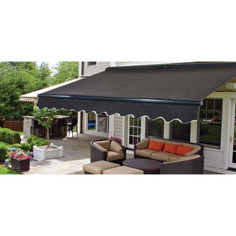 ALEKO Sunshade Half Cassette Retractable Patio Deck Awning 12x10 ft Black Color
