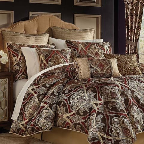 Croscill Bradney Red and Brown Jacquard 4 Piece Comforter Set