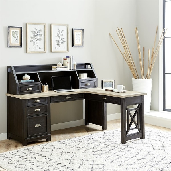 Heatherbrook Charcoal and Ash with Wire Brushing L-shaped Desk Set