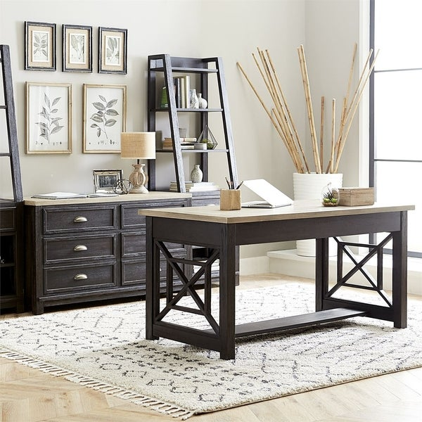 Heatherbrook Charcoal and Ash with Wire Brushing 2-piece Desk Set