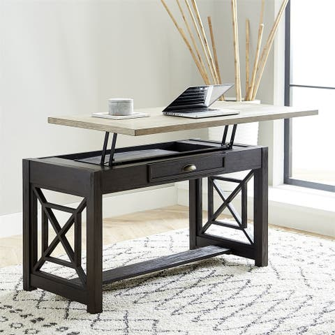 Heatherbrook Charcoal and Ash with Wire Brushing Lift Top Writing Desk