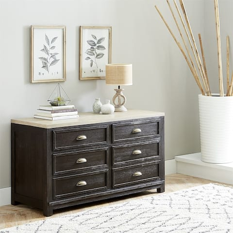 Heatherbrook Charcoal and Ash with Wire Brushing 4-drawer Credenza