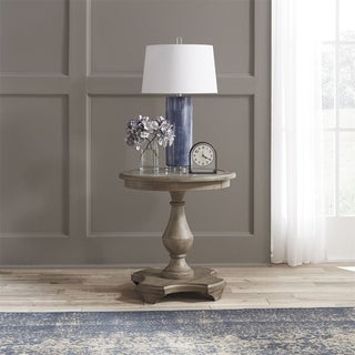 Southern Living Weathered Taupe Round Chair Side Table