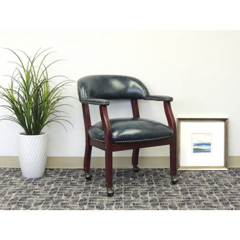 Boss Office Products Captain's Chair in Blue Vinyl with Casters