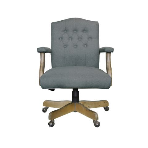 The Gray Barn Badger Hill Medium Grey Executive Mid-back Linen Chair