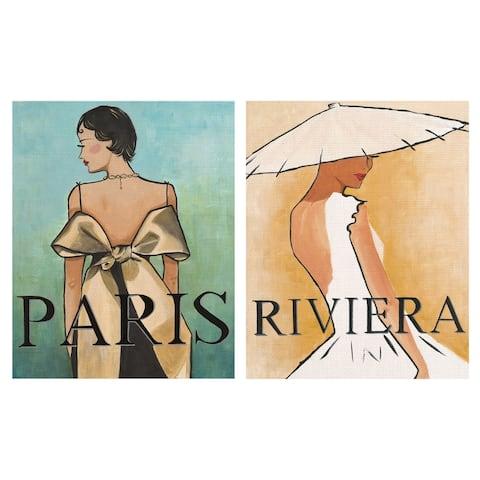 Paris & Riviera by Rosenstiels Canvas Art Print Set of 2