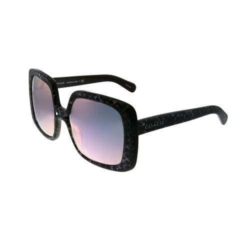 Coach L1038 HC 8245 55185R Womens Oxblood Coach Signature Frame Pink Mirror Lens Sunglasses