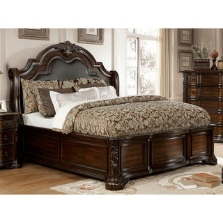 Gracewood Hollow Dhiru Traditional Brown Cherry Sleigh Bed