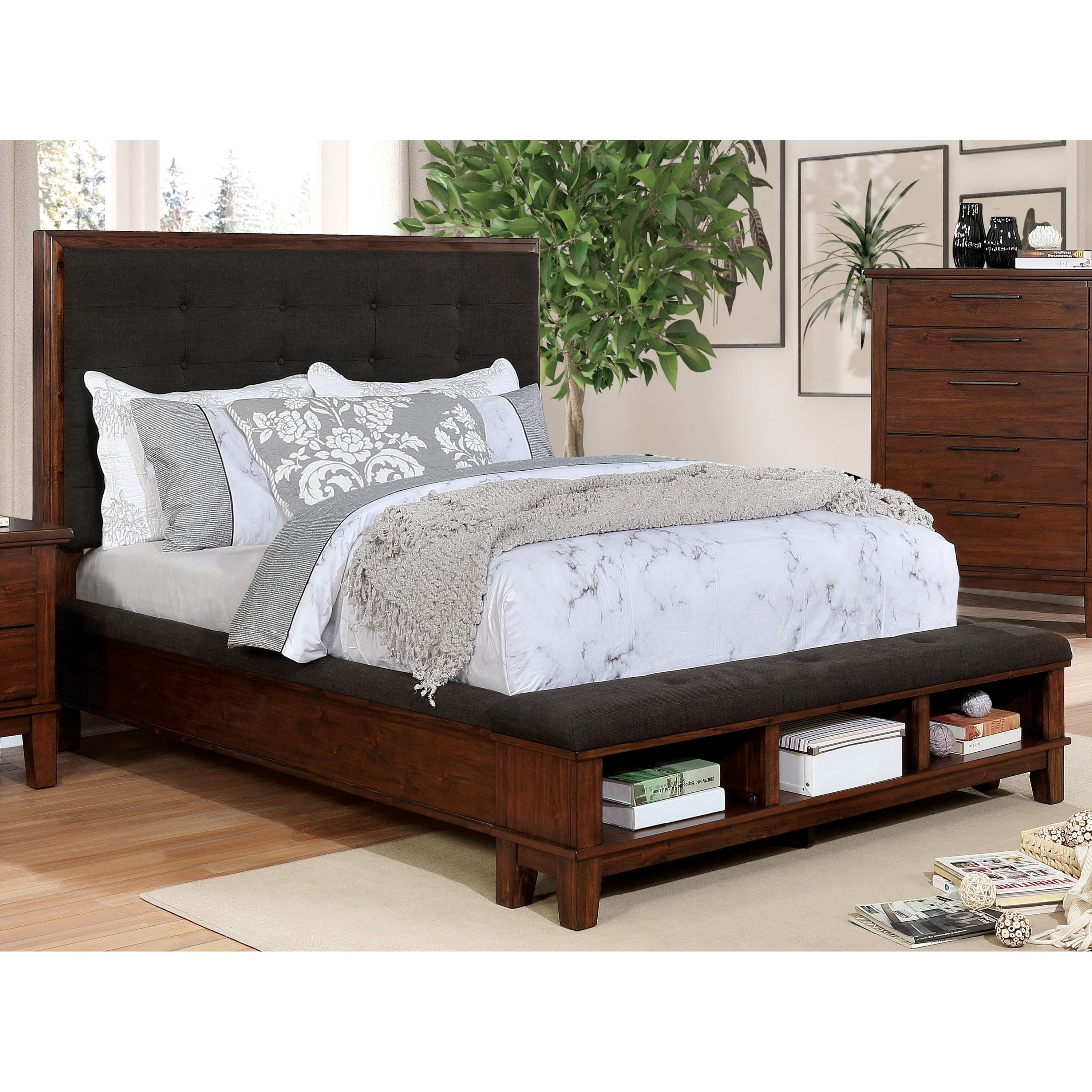 Caulfield Transitional Brown Cherry Storage Bed By Foa