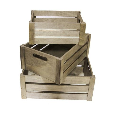 Distressed Decorative Rectangle Storage Gift Wood 3pcs, Stain Grey