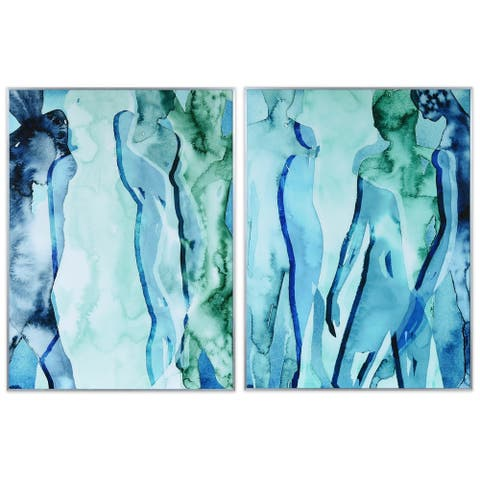 """Blue & Green Silhouette"" Printed Abstract Wall Art Glass Encased with Anodized Aluminum Silver Frame"