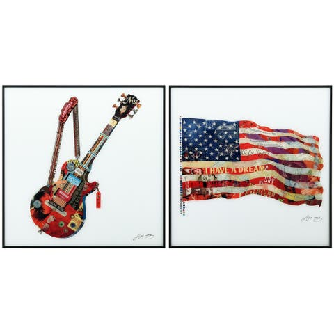 """Guitar & American Flag"" Printed Wall Art with Black Anodized Aluminum Frame"