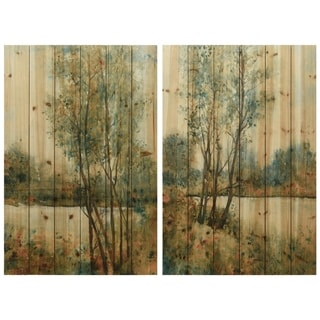 """Early Spring 1 & 2"" Wood Wall Art Giclee Printed on Solid Fir Wood Planks - Green"