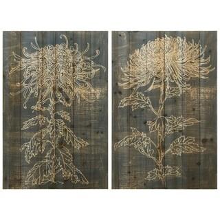 """Indigo Dance I&II"" Wood Wall Art Giclee Printed on Solid Fir Wood Planks - Grey"