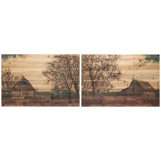 """Erstwhile Barn 3 & 4"" Wood Wall Art Giclee Printed on Solid Fir Wood Planks - Brown"