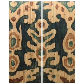 """Ocean Ikat A & B"" Wood Wall Art Giclee Printed on Solid Fir Wood Planks - Green"