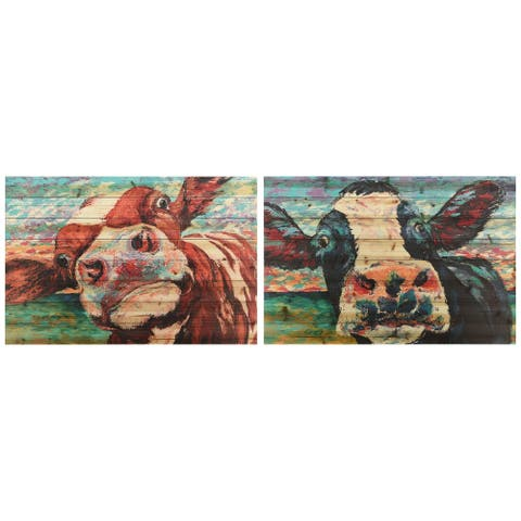 """Curiuos Cow 3&4"" Wood Wall Art Giclee Printed on Solid Fir Wood Planks - Multi-Color"