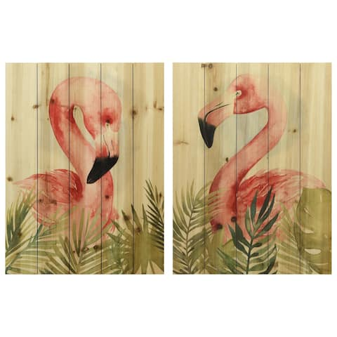 """""""Watercolor Flamingo Composition"""" Wood Wall Art Digital Print on Solid Wood - Green/Pink"""