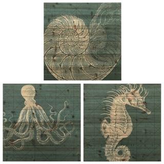 """Coastal Menagerie A, B & C"" Wood Wall Art Digital Print on Solid Wood - Green"