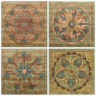 """Ornamental Tile 1,2,3 & 4"" Wood Wall Art Digital Print on Solid Wood - Green"