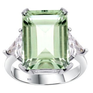 Orchid Jewelry Sterling Silver Ring 9 15 Ct Green Amethyst White Topaz Gemstone