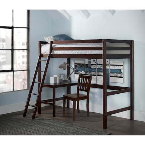 Caspian Twin Study Loft with Chair, Chocolate