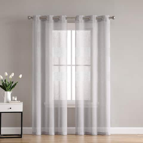 VCNY Home Danby Knit Sheer Grommet Curtain Panel Pair