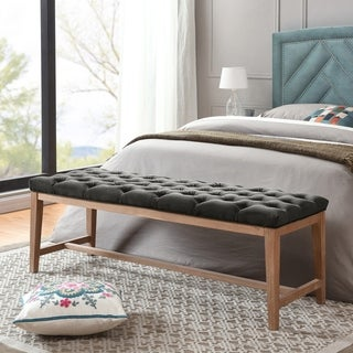 Gray Barn Mallory White Wash Wood and Upholstered Bench Ottoman
