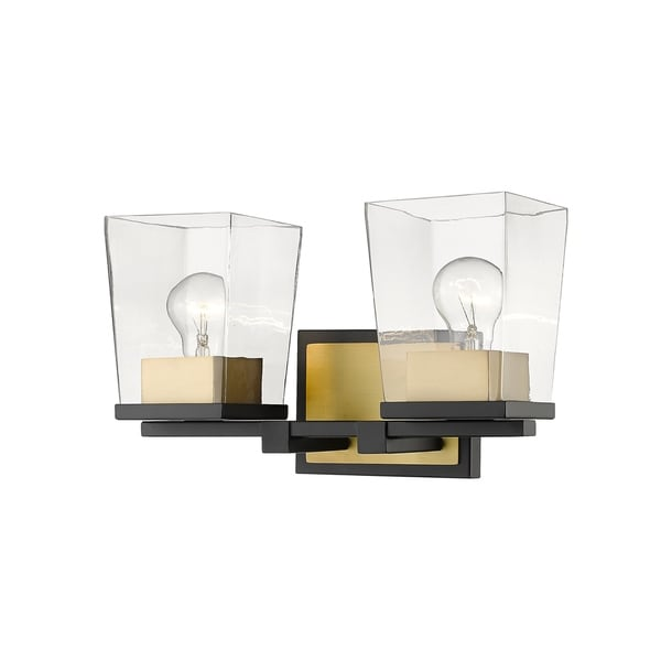 Bleeker Street 2 Light Vanity in Matte Black + Olde Brass