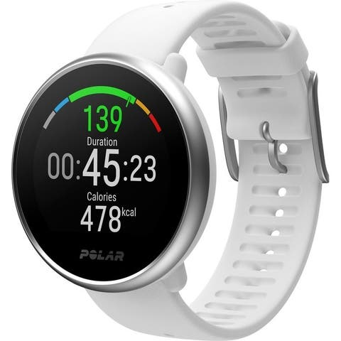 Polar Ignite GPS Fitness Watch with Heart Rate Monitor (Small, White/Silver)