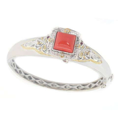 Gems en Vogue Palladium Silver Red Coral, Ruby & White Sapphire Bangle Bracelet