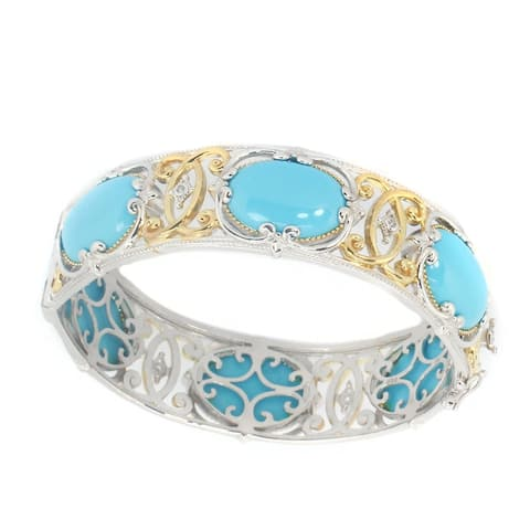 Gems en Vogue Palladium Silver Reconstituted Turquoise & White Sapphire Bangle Bracelet