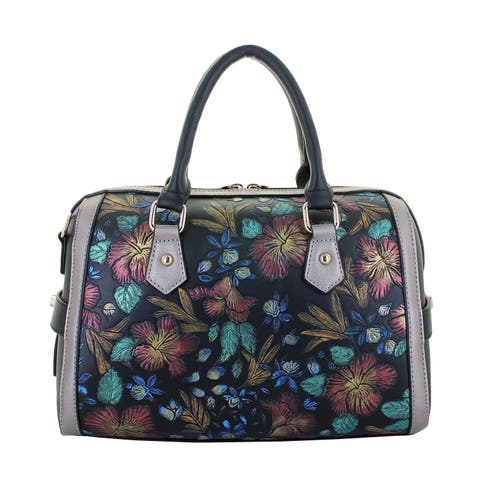 Hand-painted Florals Satchel with Crossbody Strap