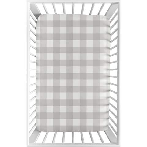 Sweet Jojo Designs Gray Rustic Woodland Flannel Baby Fitted Mini Portable Crib Sheet Buffalo Plaid Check (Not for Standard Crib)