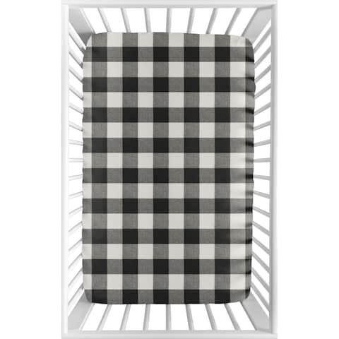 Sweet Jojo Designs Black Rustic Woodland Flannel Fitted Mini Portable Crib Sheet Buffalo Plaid Check (Not for Standard Crib)